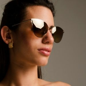 Accessories - GOLD CAT EYE MIRRORED SUNGLASSES GOLD LENS